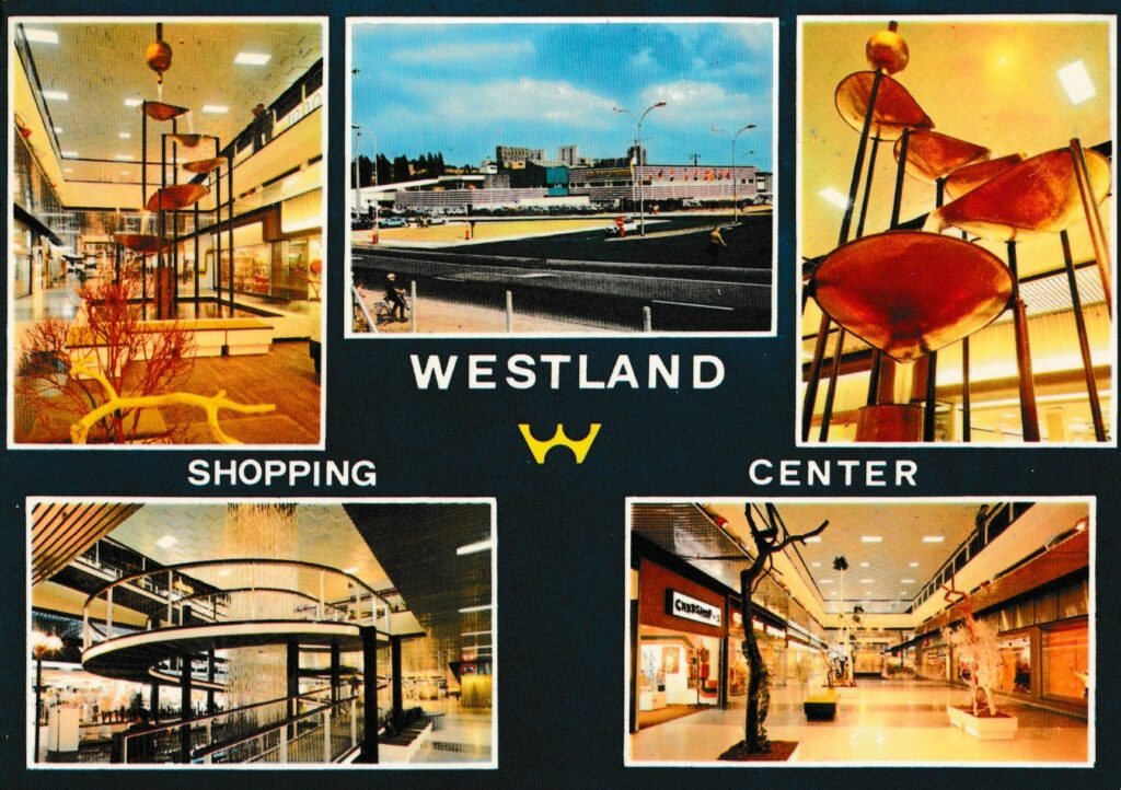 Postkaart met vijf foto's van het Westland Shopping Center in Anderlecht (Brussel), jaren 1970